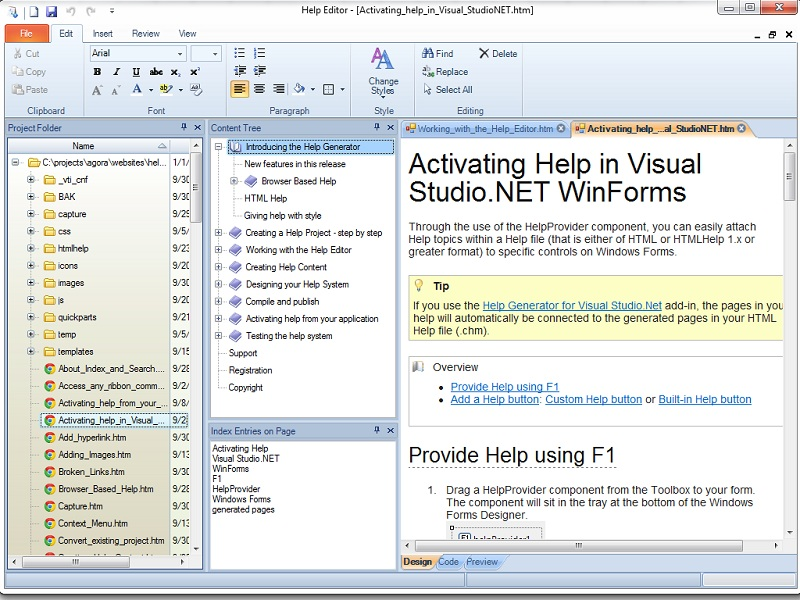 Help Generator for Visual Studio 2003 Screen shot
